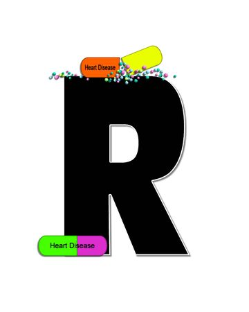 The letter R, in the alphabet set Wellness Check, is black and outlined with white.  RX capsules decorate letter with health diseases on each capsule.