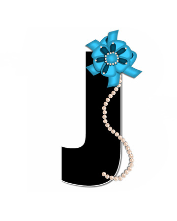 lay: The letter J, in the alphabet set Ribbon Trimmed, is black, outlined with white.  Letter is decorated with colorful bow trimmed with pearls.  Strands of pearls fall from bow and lay at bottom of letter.
