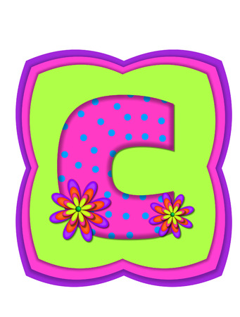 The letter C, in the alphabet set Daisy Daze, is colored in vivid pink with teal polka dots.  It is decorated with four layered daisies.  All sit on a pillow of neon green, hot pink and purple. Stock Photo
