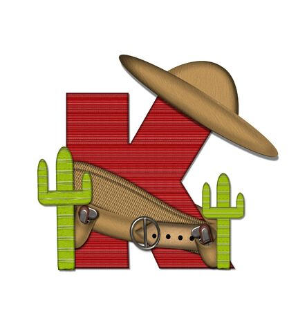 theif: The letter K, in the alphabet set Bandido, is a red lined, tight woven pattern.  Letter is wearing a gun belt and blanket with a somberro on top.  Two cacti sit at each side.