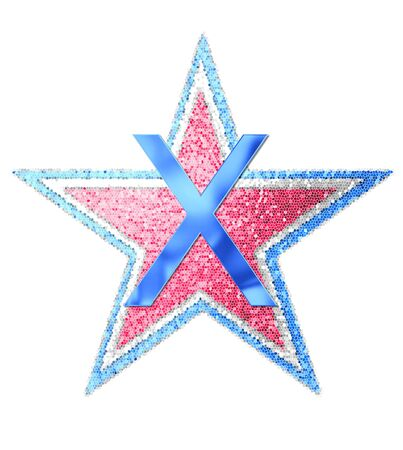 The letter X, in the alphabet set Red White and Blue is blue metallic.  Letter sits on three mosaic stars of red, white and blue.