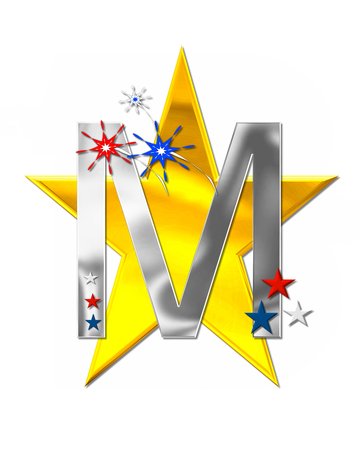 scrap gold: The letter M, in the alphabet set Patriotism is silver metalic.  Fireworks and stars decorate letter with red, white and blue.  Golden star serves as background. Stock Photo