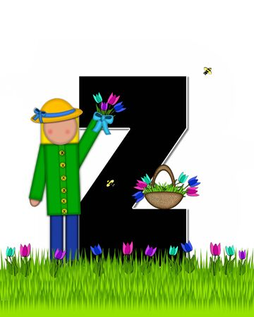 The letter Z, in the alphabet set Children Tulip Patch is black outlined with white.  Children hold tulip bouquet and stand in colorful tulip patch.