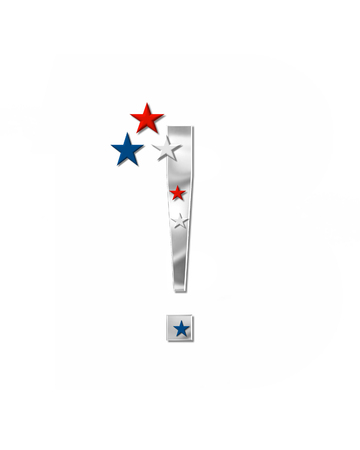 coordinate: Explanation point, in the alphabet set Plain Patriotism is silver metalic.  Three stars decorate letter with red, white and blue.  Letters coordinate with Alphabet Patriotism.
