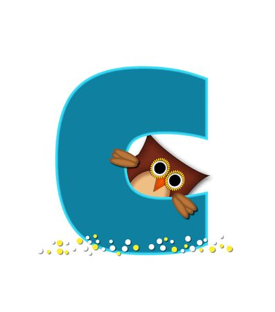 The letter C, in the alphabet set Owl  is turquoise.  It is decorated with a brown owl and white and yellow polka dots.