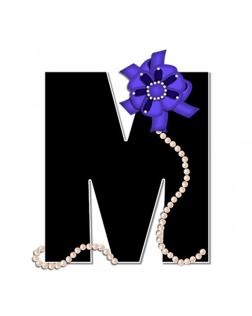 lay: The letter M, in the alphabet set Ribbon Trimmed, is black, outlined with white.  Letter is decorated with colorful bow trimmed with pearls.  Strands of pearls fall from bow and lay at bottom of letter.