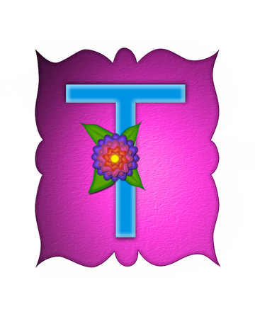 The letter T, in the alphabet set Flower Fringe, is blue and sits on pink curvy frame.  Letter is decorated with flowers in pink, orange and blue.