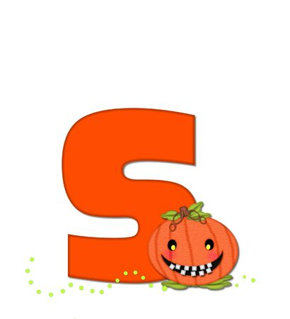 toothy: The letter S, in the alphabet set Pumpkin Head, is bright orange. Letter is decorated with smiling, toothy pumpkins and green polka dots.