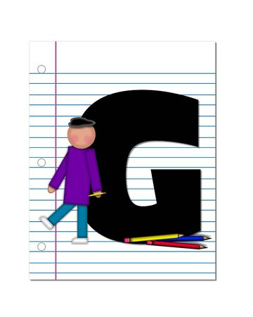 coordinates: The letter G, in the alphabet set Start of School Two, is black.  Letter is sitting on a blank piece of notebook paper and is decorated with pencils and student.  This set coordinates with Alphabt Start of School.