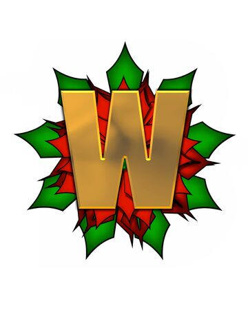 scrap gold: The letter W, in the alphabet set Christmas Poinsettia is shiny gold metallic.  Letter sits on a large red, poinsettia. Stock Photo