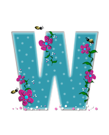 buzzing: The letter W, in the alphabet set Garden Buzz, is aqua.  Each letter is decorated with soft polka dots, flowers and buzzing bees.  Base of letter is covered in pink and white confetti.