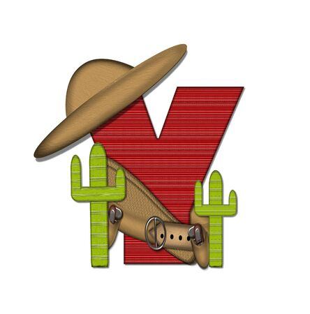theif: The letter Y, in the alphabet set Bandido, is a red lined, tight woven pattern.  Letter is wearing a gun belt and blanket with a somberro on top.  Two cacti sit at each side.