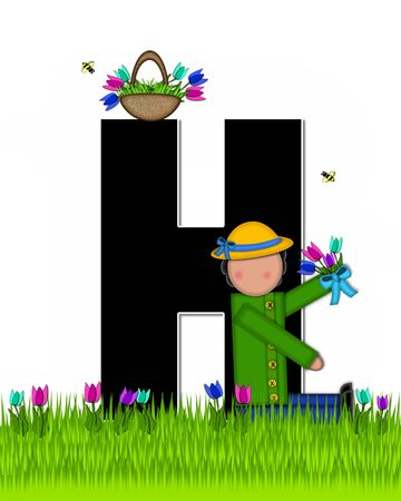 The letter H, in the alphabet set Children Tulip Patch is black outlined with white.  Children hold tulip bouquet and stand in colorful tulip patch.
