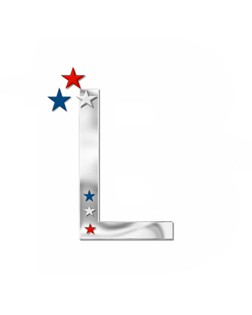 metalic: The letter L, in the alphabet set Plain Patriotism is silver metalic.  Three stars decorate letter with red, white and blue.  Letters coordinate with Alphabet Patriotism.