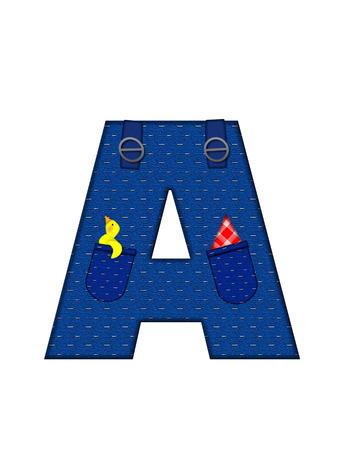 A、アルファベットで「農民ブラウン」を設定された文字はストラップ、ポケット付きデニムです。 市松模様のハンカチをポケットからピークします