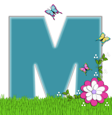 flutter: The letter M, in the alphabet set Happy Springtime, is turquoise.  Letter is sitting on bright green grass and is decorated with flower and vines.  Butterflies flutter around letter.
