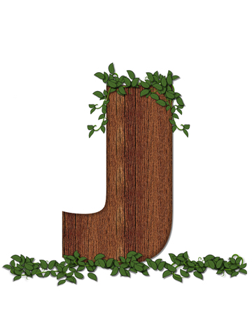 The letter J, in the alphabet set Deep Woods is filled with wod texture and has vines growing all over it. It coordinates with the alphabet set Deep Woods Owl.