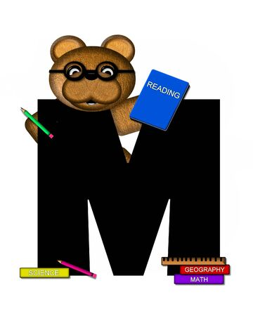 studious: The letter M, in the alphabet set Teddy Learning, is black. Teddy bear decorates letter and he is wearing glasses.  Books and pencils surround him.
