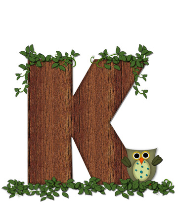 """The letter K, in the alphabet set """"Deep Woods Owl"""" is filled with wod texture and has vines growing all over it. Owl sits on log-style letter."""