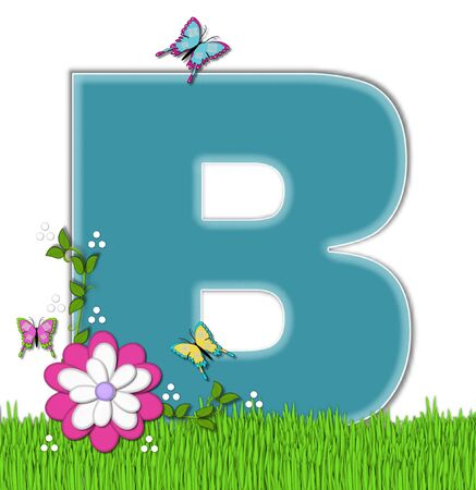 flutter: The letter B, in the alphabet set Happy Springtime, is turquoise.  Letter is sitting on bright green grass and is decorated with flower and vines.  Butterflies flutter around letter.