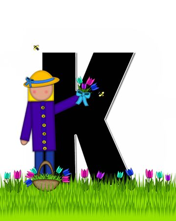 The letter K, in the alphabet set Children Tulip Patch is black outlined with white.  Children hold tulip bouquet and stand in colorful tulip patch.