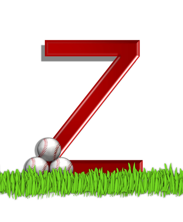 The letter Z, in the alphabet set Baseball, is red.  Three baseballs decorate 3D letter.  All sit in a field of green grass.
