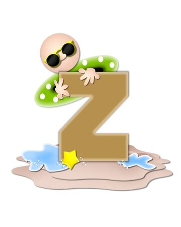 tan: The letter Z, in the alphabet set Ocean Swimming is tan.  Letter sits on beach and is decorated with swimmer, water, bubbles and yellow starfish. Stock Photo