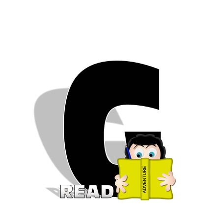 open type font: The letter G, in the alphabet set Absorbed in Reading, is black and decorated with books and people absorbed in reading.  Stark shadow hangs behind letter.  Books have genre printed on spine binding.