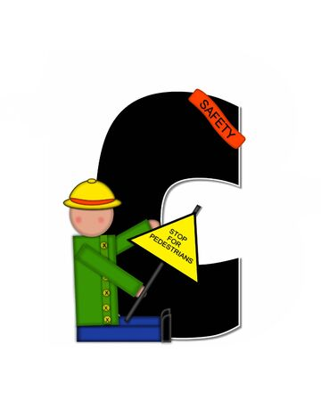 wears: The letter C, in the alphabet set Children School Patrol, is black and outlined with white.  Child dressed as crossing guard wears banner, hat and carries sign.