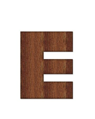 wood grain: The letter E, in the alphabet set Wood Grain resembles paneling or finished wood grain. Stock Photo
