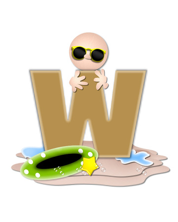 tan: The letter W, in the alphabet set Ocean Swimming is tan.  Letter sits on beach and is decorated with swimmer, water, bubbles and yellow starfish. Stock Photo