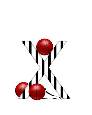 The letter X,in the alphabet set Referee, is black and white striped.  A whistle, on a black ribbon, and basketballs decorate each letter.