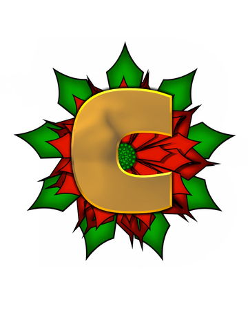 The letter C, in the alphabet set Christmas Poinsettia is shiny gold metallic.  Letter sits on a large red, poinsettia.