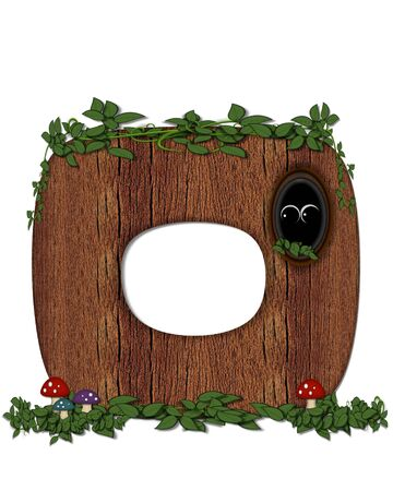 knothole: The letter O, in the alphabet set Log is filled with wod texture.  Vines and colorful mushrooms grow around letter.  Some letters have knot holes with peeking eyes. Stock Photo