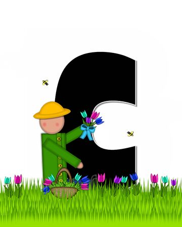 The letter C, in the alphabet set Children Tulip Patch is black outlined with white.  Children hold tulip bouquet and stand in colorful tulip patch.