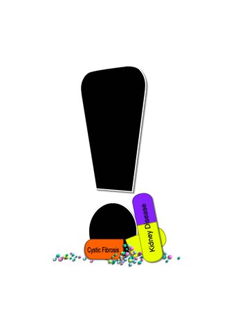 point exclamation: Exclamation point, in the alphabet set Wellness Check, is black and outlined with white.  RX capsules decorate letter with health diseases on each capsule.