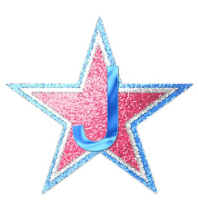 The letter J, in the alphabet set Red White and Blue is blue metallic.  Letter sits on three mosaic stars of red, white and blue.