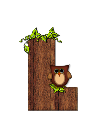 The letter L, in the alphabet set Woodsy Owl is filled with wood texture.  3D vines hang on letter.  Letter is decorated with a brown owl. Stock Photo