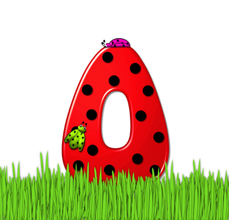 lady in red: The red letter O, in the alphabet set Lady Bug Red, has large black polka dots and is decorated with 3D ladybugs.  Letter is nestled in tall, garden grass.