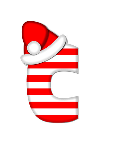 The letter C, in the alphabet set Christmas Candy Cane, is red and white striped.  Letter is decorated with floppy Santa cap. Фото со стока