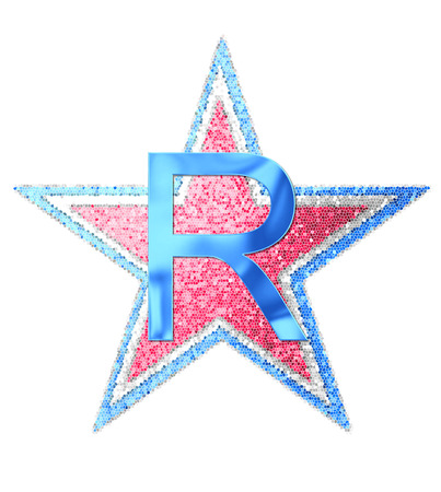 The letter R, in the alphabet set Red White and Blue is blue metallic.  Letter sits on three mosaic stars of red, white and blue.