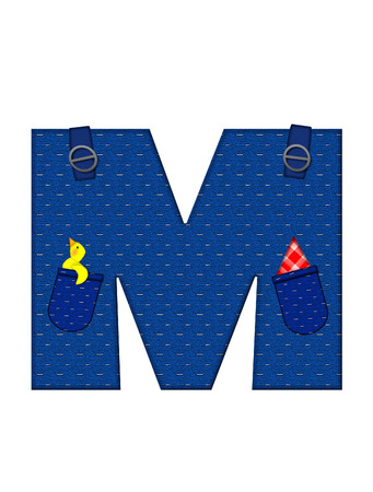 straps: The letter M, in the alphabet set Farmer Brown, is denim with straps and pockets.  Checkered handkerchief peeks out of pocket.