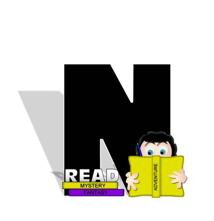 genre: The letter N, in the alphabet set Absorbed in Reading, is black and decorated with books and people absorbed in reading.  Stark shadow hangs behind letter.  Books have genre printed on spine binding.
