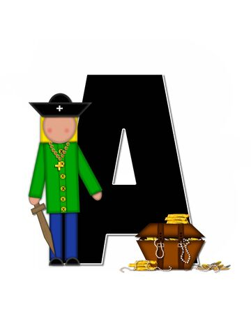 booty pirate: The letter A, in the alphabet set Children Pirates, is black outlined with white.  Children play pirates with wooden sword, treasure chest, gold and pearls.