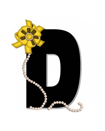 lay: The letter D, in the alphabet set Ribbon Trimmed, is black, outlined with white.  Letter is decorated with colorful bow trimmed with pearls.  Strands of pearls fall from bow and lay at bottom of letter.