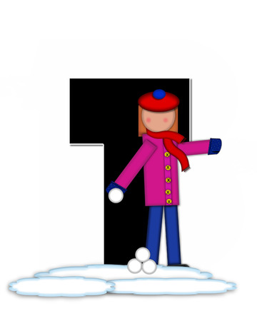 snow cap: The letter T, in the alphabet set Children Snow Fight, is black and outlined with white.  Children, dressed in cap, scarf and mittens, hold snowball ready for a fight.