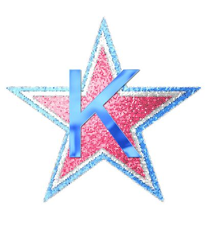 The letterK , in the alphabet set Red White and Blue is blue metallic.  Letter sits on three mosaic stars of red, white and blue. Stock fotó