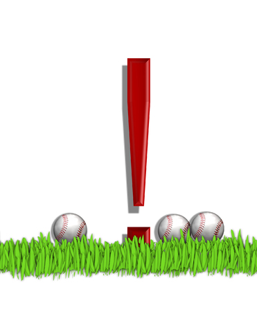 point exclamation: Exclamation point, in the alphabet set Baseball, is red.  Three baseballs decorate 3D letter.  All sit in a field of green grass.