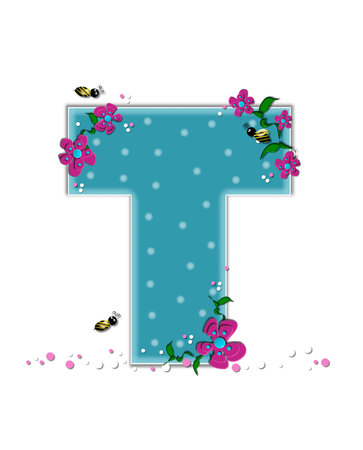 buzz: The letter T, in the alphabet set Garden Buzz, is aqua.  Each letter is decorated with soft polka dots, flowers and buzzing bees.  Base of letter is covered in pink and white confetti.