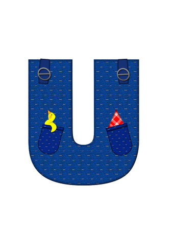 handkerchief: The letter U, in the alphabet set Farmer Brown, is denim with straps and pockets.  Checkered handkerchief peeks out of pocket.